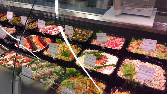 Украшение салатов для витрины